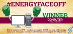 The computer takes the efficiency title in round one of #EnergyFaceoff.   Graphic courtesy of Stacy Buchanan, National Renewable Energy Laboratory