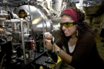 Michelle Alvarado worked on diagnostic software to monitor a laser beam at the AZero photo injector at Fermilab.   Photo courtesy of Fermilab.