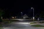 LED street lighting in a residential area.