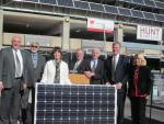 A new 82 kilowatt solar photovoltaic installation at the RiverCentre convention complex is unveiled in the heart of downtown St. Paul. | Photo courtesy of the Office of Energy Efficiency and Renewable Energy