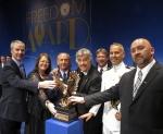 Jim Floerke, left to right, Bonnie Anderson, Brig. Gen. Gary L. Sayler, Tony Orlando, Tom Dieter, Duke Moscon, and George Hames.