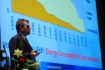 Dr. Erich Strohmaier, of Lawrence Berkeley National Laboratory, presents data from the TOP500 list of supercomputers. | Photo courtesy of Berkeley Lab.