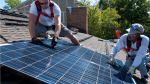 Installing solar panels requires the proper orientation and tilt, and it is best to use a professional contractor.   Photo courtesy of Dennis Schroeder, National Renewable Energy Laboratory