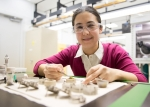 Karena Chapman assembled advanced battery materials into sample holders that can be placed in a detector at the Advanced Photon Source at Argonne National Laboratory where high-energy X-ray beam will reveal the structure of the chemical elements.