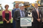 Dr. Imre Gyuk -- pictured speaking at a Green Mountain Power energy storage event -- was recently recognized for his game-changing work in energy storage.   Photo courtesy of the Clean Energy States Alliance.