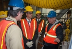 EM Office of River Protection (ORP) Manager Kevin Smith, right, discusses the Low-Activity Waste Facility design and construction with Waste Treatment and Immobilization Project Assistant Manager Bill Hamel, left; EM Acting Assistant Secretary Mark Whitney, second from left; and EM Waste Treatment Plant/Tank Farms Program Director Todd Shrader during a tour of the facility. Whitney visited the Hanford site earlier this fall.