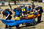 The WIPP Blue Mine Rescue Team moves through the course in the field competition of the Southwest Regional Mine Rescue Contest.