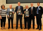 """Oak Ridge Office (ORO) of EM Deputy Manager Sue Cange, left to right, former ORO Manager Jim Hall, former ORO Manager Joe LaGrone, former ORO Manager Gerald Boyd, EM Senior Advisor Dave Huizenga and ORO EM Manager Mark Whitney take the stage after the showing of """"30 Years in 30 Minutes."""""""
