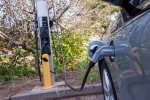 A Chevrolet Volt charges in Rhode Island thanks to a ChargePoint station installed using funding from the American Reinvestment and Recovery Act.   Photo courtesy of NREL