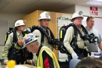 Members of the WIPP mine rescue team prepare to respond to a simulated emergency in the WIPP underground during the annual exercise. WIPP has two mine rescue teams, and they regularly drill to ensure they are prepared to respond in the event of an actual underground emergency.