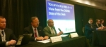 """DOE officials served as members of the """"In It To Win IT"""" panel at the Reservation Economic Summit in Tulsa this month. From left to right, EM Acting Small Business Advocate Steve Sylvester, Jack Surash with EM's Office of Corporate Services, DOE Office of Small and Disadvantaged Business Utilization (OSDBU) Director John Hale III, OSDBU Deputy Director Drake Russell, Norbert Doyle with EM's Office of Corporate Services, and EM Consolidated Business Center Small Business Program Manager Anne Marie Bird."""