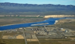 An aerial photo of Hanford's 100-D Area along the Columbia River, which is served by one of five pump-and-treat systems along the Columbia River that are helping shrink areas of contaminated groundwater.