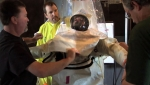 Trainers help a Plutonium Finishing Plant employee dress in the protective suit.