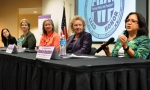 Regalbuto (right to left) is joined by U.S. Tennessee Eastern District Judge Pamela Reeves; State Collaborative on Reforming Education President and CEO Jamie Woodson; Scripps Network Interactive Senior Vice President Julie Elliot; and DOE Office of Science Field Operations Associate Deputy Director Stephanie Short.