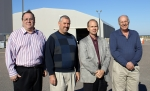The SRS Non-Destructive Radionuclide Assay Team, from left, include Steve Mackmull (now retired), DOE-Savannah River; Todd Shepley, Canberra; and Lee Fox and Steve Mentrup, SRNS. Not pictured: Bert Crapse, DOE-Savannah River; Ronnie Lee, WIPP Central Characterization Program; and Dan Remington, Bruce Gillespie, and Joe Wachter, Canberra.