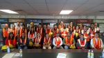 Early career professionals from the Hanford, Savannah River Waste Isolation Pilot Plant sites pose for a photo during a recent visit to the Waste Treatment Plant construction site.