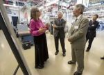 Sr. Scientist Sarah Kurtz gives a presentation to NREL Director Dan Arvizu, Dr. John Holdren, senior advisor to President Barack Obama, Assistant to the President for Science and Technology, Director of the White House Office of Science and Tech