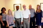 (Left to right) Venita Thomas, Kathryn Bales, Christopher Beatty, Fred Swindler, Eddie Holden, and Deni Sobek join an already diverse and active group that meets monthly to share ideas and offer their perspectives on the future actions and decisions that will further OREM's mission in Oak Ridge.