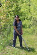 Picture of Sindhu Jagadamma at work in the field.