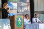 """Deputy Secretary Sherwood-Randall speaks to the Waste Isolation Pilot Plant workforce and employees of the Carlsbad Field Office (CBFO) and Nuclear Waste Partnership (NWP) during an """"all-hands"""" meeting Tuesday as NWP President and Project Manager Phil Breidenbach, second from right, and CBFO Manager Todd Shrader listen."""
