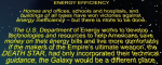 "Graphic of the well-known ""Star Wars"" scrolling intro text, with text on energy efficiency."