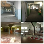 Before-and-after scenes of the energy-saving renovations at Oregon's Lowell School District in summer 2015. Upgrades included insulation of attics and exterior walls, roof replacements, and removal and replacement of asbestos siding.