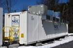 Sterling (MA) Municipal Light Department's recently-commissioned 2-megawatt/3.9 megawatt-hour battery storage system.| Photo courtesy of Clean Energy Group