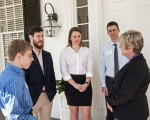 USC Aiken students, from left, Brandon Eberl, Joe Barry, Rebecca Richardson, and Kevin O'Connor, discuss future plans with SRNS President and CEO Carol Johnson.