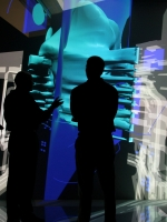 VE-Suite, a virtual engineering tool developed at Ames Laboratory, displayed on a six-sided virtual reality room which helps engineers build greener, next-generation power plants faster and less expensively than ever before.