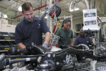 ZF North America used Alabama E3 funding to create a recycling program that saves more than $100,000 a year in trash pickup and landfill fees. Pictured here are workers in the Tuscaloosa location, which provides Mercedes with complete axle systems. | Photo courtesy of ZF North America, Inc.