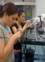 Amanda Not Afraid (front) and another student in the DOE-sponsored algae internship program work on cultivating and characterizing oil-producing algae.