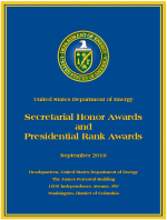 Poster for the awards, with the DOE seal and the month and location.