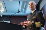 Naval Nuclear Propulsion Program Director Admiral James Frank Caldwell Jr. addresses crowd at the Center for Strategic & International Studies.