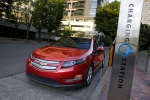 The 2011 Chevrolet Volt at a charging station. Its battery is based on a cathode technology developed at Argonne National Laboratory, which will make the battery safer, longer-lived and more powerful. Photo courtesy of General Motors