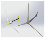 Close-up image of two wind turbine blades.