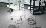 Photo of the PoE cable study test setup.
