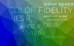 abstract graphic with terms related to color fidelity research.