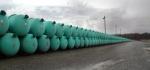 Cylinders containing depleted uranium hexafluoride.