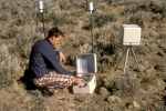 In this photo taken in the 1970s, INL's Richard Dickson is measuring background radiation levels using ionization chambers. | Photo courtesy of Richard Dickson.