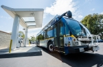 A fuel cell electric bus at a fueling station in Irvine, Califronia.
