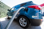 Fueling a Hyundai Tucson fuel cell vehicle at a hydrogen fueling station.