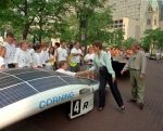 Former Energy Secretary Hazel O'Leary greets contestants of the Solar Car Challenge Competition in 1995. O'Leary was the first Energy Secretary to link energy policy decisions to the health and quality of the environment. | Photo by Warren Gretz, National Renewable Energy Laboratory