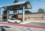 A fuel cell electric vehicle (FCEV) at a fueling station in California. New Energy Department reports signal rapid growth in America's fuel cell and hydrogen industry as FCEVs are introduced to the market.   Energy Department photo