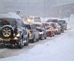 Cars Driving in Blizzard