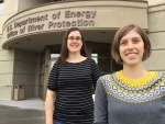 ORP employees Kelly Ebert, left, and Anne McCartney, recently earned their professional engineer licenses from the state of California.