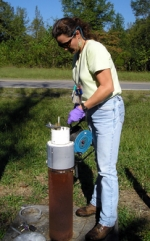 EM uses data collected at monitoring wells to determine groundwater migration patterns and potential risks.