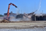 Equipment takes down the final portion of Building K-27. The cleanup project was part of Vision 2016, a DOE goal to remove all of the former uranium enrichment buildings at the East Tennessee Technology Park by the end of 2016. K-27 was the fifth and final gaseous diffusion building to be demolished at the site. Successful demolitions of the four other buildings were completed from 2006 to 2015.
