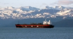 A tanker carries liquified natural gas (LNG) off the coast of Homer, Alaska.   Photo courtesy of the Federal Energy Regulatory Commission.