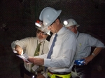 CBFO Manager Joe Franco, left, and EM Acting Assistant Secretary Mark Whitney discuss points of interest on a map of the WIPP underground.