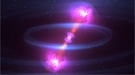 A simulated merger of a pair of neutron stars.
